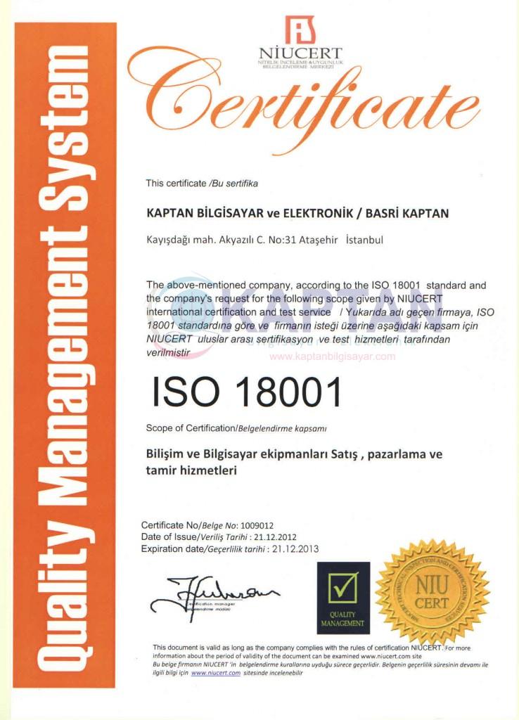 ISO 18001 Sertifikamiz