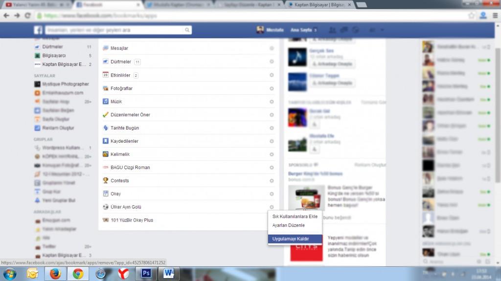 facebook uygulamalar sayfası